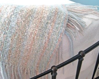 Vintage Kennebunk Throw Blanket, Soft Pastels, Hand Woven, Textured, Long Fringe, Made in USA