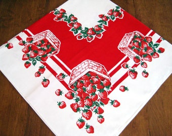 Vintage Strawberry Print Tablecloth, NOS, Strawberry Baskets Overflowing, Vivid Red, White, Green, Unused, MINT
