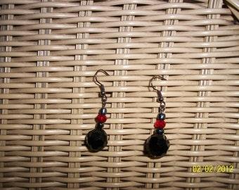 Black Crystal Pearl Earrings