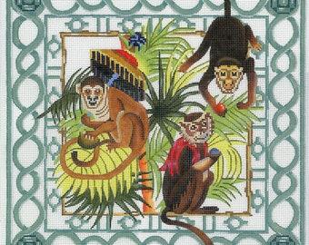 Handpainted Needlepoint Monkey Canvas - Brown, Aqua, Green, Red - Monkey Trellis Garden