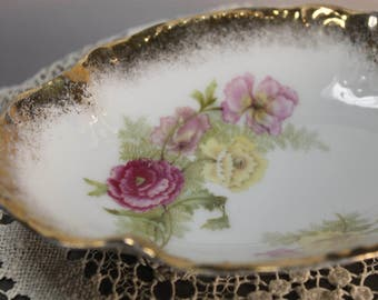 Vintage Bavarian China Dish,Germany China,Shabby Chic Dish,Candy Dish,Gold Gilt