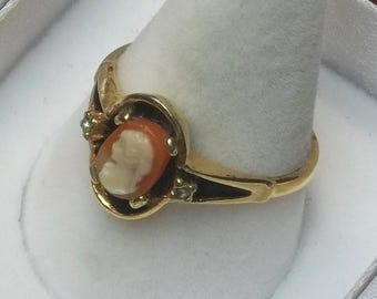 Vintage 1960's Gold Tone Poured Glass Miniature Cameo Rhinestone Black Enamel Ring Costume Jewelry Mid Century Gift For Her on Etsy
