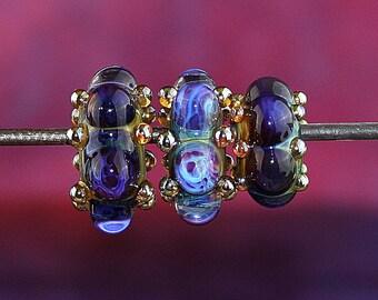 Striking Trio Handmade Lampworked Glass Big Hole Beads OOAK Blue Aqua Purple Ivory Silver LARGE Holes Rondelles Lampwork