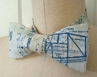 Self-tie bow tie | airplane blueprint vintage aviation on off white