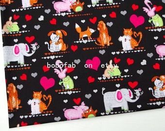 "2337  - 1 yard Cotton Poplin fabric - Animals - dog,elephant,cat,pig,owl and heart (140cmx91.44cm,55""x36"")"