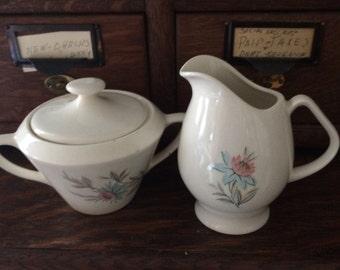 Vintage Steubenville Fairlane Blue and Pink Cornflower China Sugar Bowl & Creamer