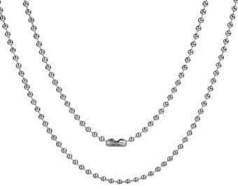 """304 Stainless Steel Ball Chain Necklace Silver Tone 23 5/8""""  long, Chain Size: 2mm"""