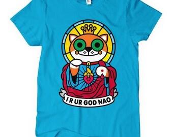 Women's Jeezus Cat T-shirt - S M L XL 2x - Ladies' Cat Tee, Funny Cat Shirt, Cat Lover, Purr, Jesus Cat, Jeebus Cat - 4 Colors