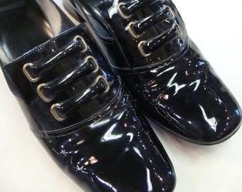 SHINY BLACK mod PUMPS heels shoes vintage 1960's 60's 7.5