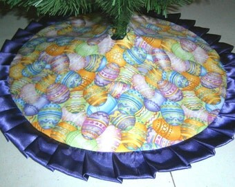 """Easter Tabletop Tree Skirt ~ 24"""" ~ Colorful Decorated Eggs"""