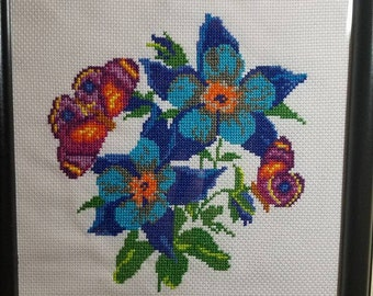 Butterfly and flower cross stich