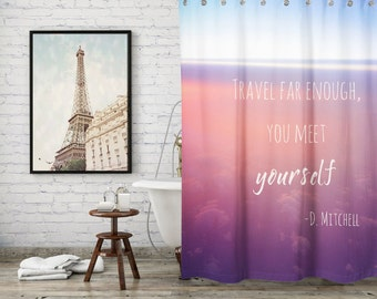 Wanderlust Quote Shower Curtain for Travel Inspired Bathroom Decor