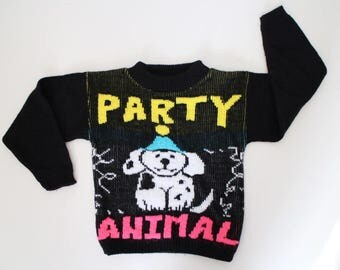 Vintage 80's Kids Sweater - Party Animal Sweater - Ugly Toddler Sweater - Fun Funky Awesome Kids Sweater - Dog - Kids 80's Clothing