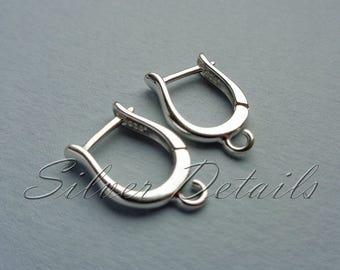 Original Shape latch back Euro Lever-backs Ear Hooks Sterling Silver 925 Earring finding reference code L8S