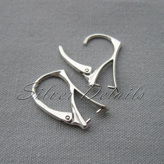 Elegant Sterling Silver Leverbacks with Pinch Bail for Swarovski Crystals Earring finding reference code L14S