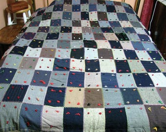30's quilt made out of men's suits full size