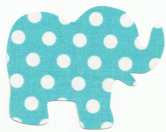 Pink or Blue Polka Dot Elephant Fabric Iron on Applique ~ Your Choice