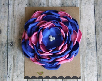 Large Pink and Blue Satin Flower Pin - Jack and Jill