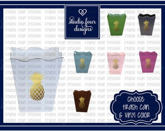 Pineapple Decor Metal Trash Can, Assorted Colors Available