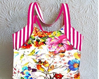 Handbag Floral With Stripes