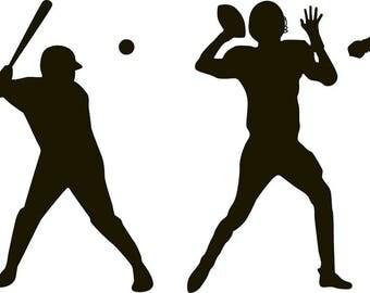 sports decals / soccer player / football / basketball / baseball player / vinyl wall decals / silhouette  decal / children's decals