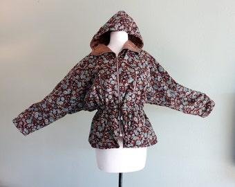 Vintage Brown Corduroy FLORAL Hooded Jacket Hood Batwing Sleeves Anarok Drawstring From France
