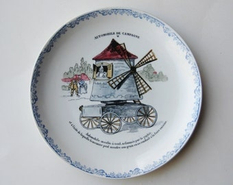 Vintage HBCM Montereau French Porcelain Automobile de Campagne VI Plate