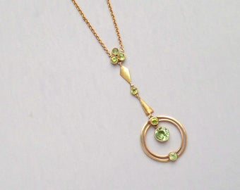 Art Deco Peridot 18k Gold Necklace.