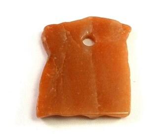 53mm Natural Red Aventurine Stone, Burnt Orange Free Form Pendant, Extra Large, Large Hole, Craft Beading, Stone Pendant, Natural Stone