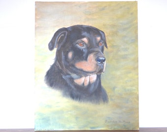 Vintage Dog Painting Oil on Board