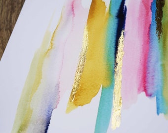 LIMITED EDITION - Modern Pop - Abstract Watercolor Gold Foil Print