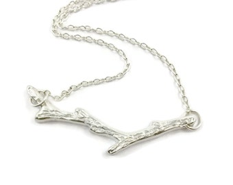 Silver Branch Necklace,Tree Branch,Fine Silver, Tree Twig,Nature Inspired, Silver Stick Necklace, Birch Tree,Gift under 100