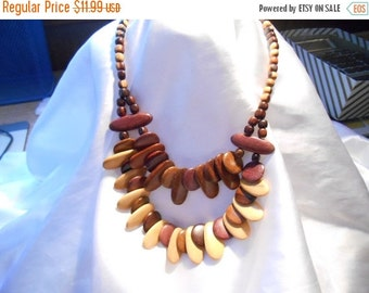 50% OFF SALE Wooden Bead Boho Necklace