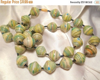 50% OFF SALE Multi Shades of Green and Yellow Swirl Painted Plastic Bead Statement Necklace