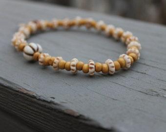 Stretchy Wooden Tribal Anklet or X- Large bracelet