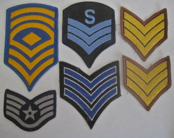 Military Patches Lot of 6 ASSORTED COLLECTION Stripes Marines Air Force Army Navy Miscellaneous Vintage Blue Brown Yellow Grey