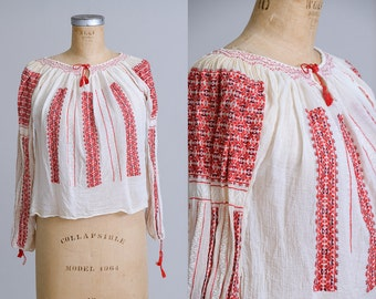 1920s Silk Hungarian Hand Embroidered Folk Peasant Blouse