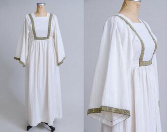 70s Angel Sleeve Renaissance Style Empire Waist Bohemian Hippie Festival Dress
