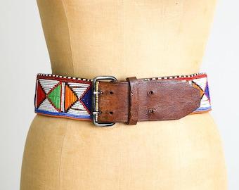 Vintage African Maasai Hand Beaded Tribal Leather Belt