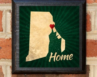 Rhode Island RI State Home! Heart Wall Art Sign Plaque Gift Present Personalized Color Custom Location Providence Newport Pawtucket Classic