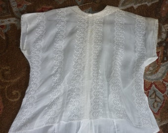 "Vintage ORGANDY LACE Blouse..French Lace..40"" Bust..Mid Century..Mad Men"