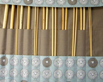 Straight knitting needle organiser. Knitting needle roll. Sheep  fabric