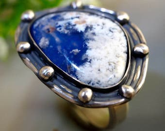 Agate Ring Lapis Lazuli Stone Sterling Silver Jewelry