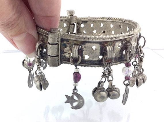 A Vintage Kuchi Dangle Bracelet, Silver Antiqued Jingle Bracelet. Ethnic Heart Filigree Bracelet. Wedding, hearts, balls, koba. Eastern.
