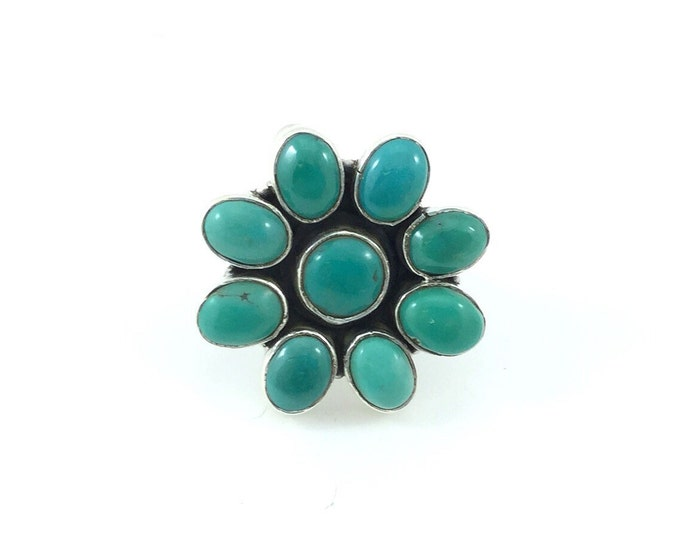 Vintage Green Blue Turquoise Sterling Silver Ring, Blue Green Stone Turquoise Ring. Size 6 Bohemian Rings, Southwest 925 Navajo Ring.