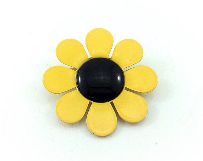 Yellow Vintage Sunflower Brooch, Metal Enamel Flower Brooch, Daisy Brooch, Yellow Brooch. Blossom Brooch. Daisy Brooch. Black eyed susan.