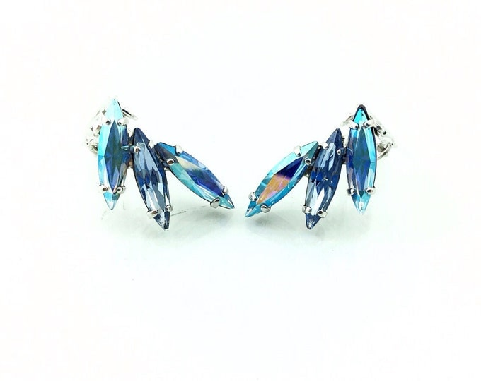 Vintage Sherman Rhinestone Earrings, Dazzling Sherman Rhinestone Earrings. Peacock Blue Rhinesones, Electric AB Hi End Costume Jewelry. Aqua