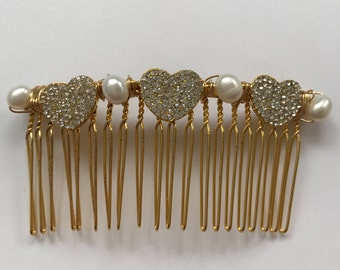 Crystal Heart Pearl Comb, for Bridal, weddings, parties, evening, special occasions