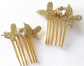 Swarovski Crystal Butterflies Comb, for Bridal, weddings, parties, evening, cocktail, special occasions