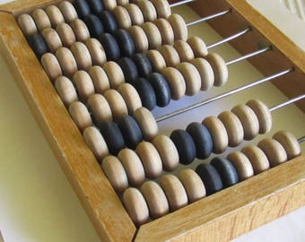 Small Vintage  all wood Abacus, 1960s, school abacus,   Home decor, wooden abacus